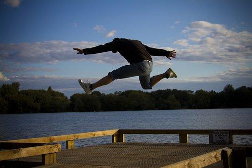 Man, Jumping, Happy, Excited, Run, Running, Jump, Sea