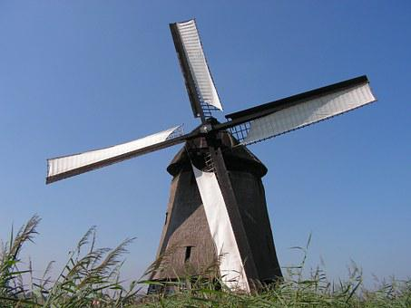 Windmill, Wooden, Scoop, Netherlands, Whiffle