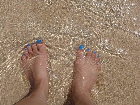 Feet, Sand, Toes, Ocean, Sea, Water, Beach, Foot