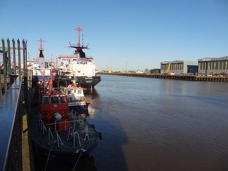 Middlesbrough, Harbor, Port, River, Ships, Industry