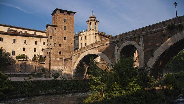 Tiber, Rome, Bridges, Island-tiber, Water