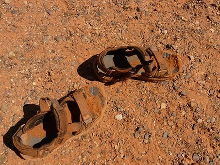 Sandals, Shoes, Dirty, Sand, Foot, Feet, Earth, Clay