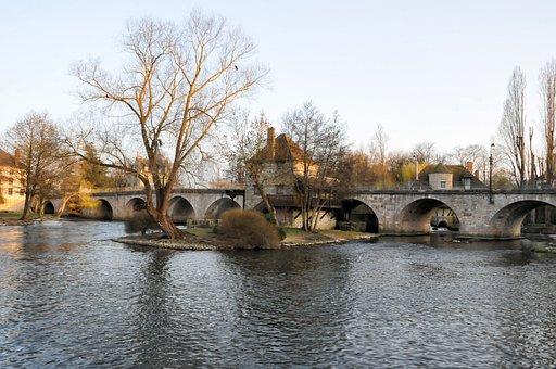 Bridge, Moret-sur-loing, France, Landscape, Old Village