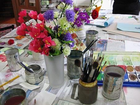 Flowers, Paint, Container, Arrangement, Vase, Colorful