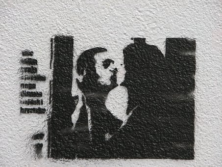 Graffiti, Black And White, Silhouette, Kiss, Couple