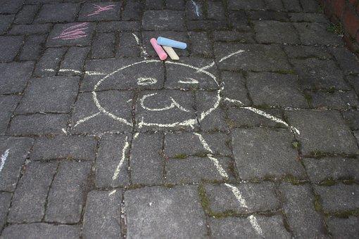 Chalk, Drawing, Kreidezeichung, Road, Children, Sun
