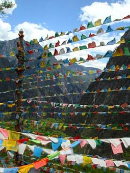 Flags, Nepal, Yunnan, Sacred, Temple, Nepalese