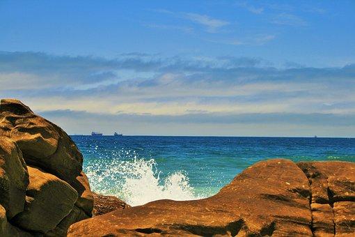Sea Spray, Sea, Ocean, Blue, Rocks, Spray, White