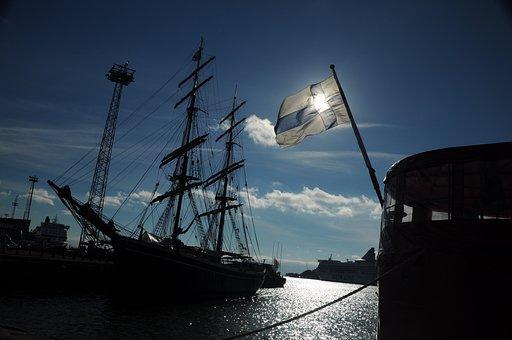 Ship, Finland, Helsinki, Flag, Sea, Port