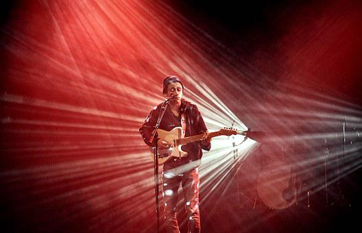 Music, Lights, Red, Guitar, Concert, Show, Musical