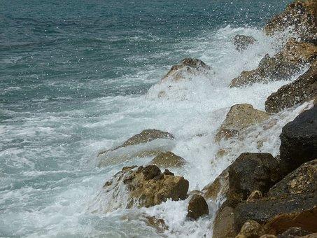 Rocks, Water, Sea Spray, Natural, Scenery, Sea, Blue
