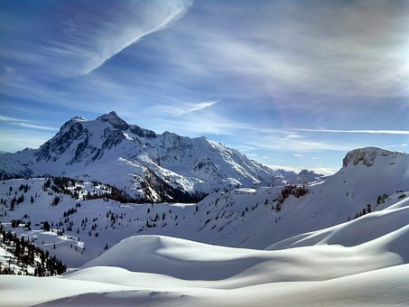 Mount Shuksan, Snow, Ski, Nature, Winter, Washington