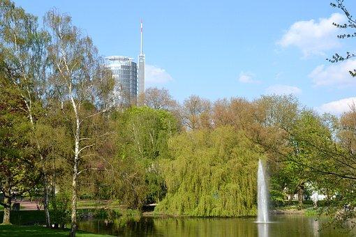 Essen, Germany, Trees, Sky, Clouds, City, Lake, Water