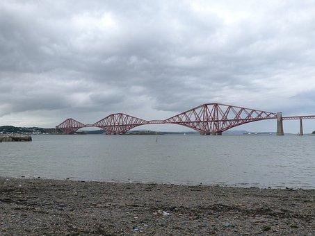 Forth Road Bridge, Scotland, Water, Bridge, Rail