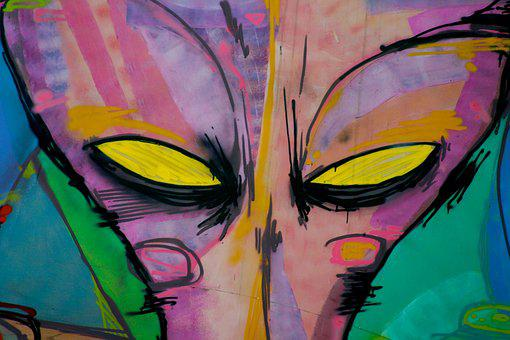 Alien, Eyes, Graffiti, Face, Creature, Monster, Galaxy