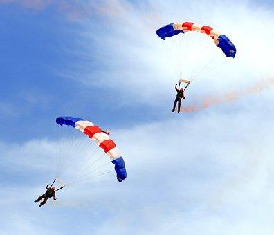 Airplane, Aviation, Blue, Celebration, Chute, Cloud