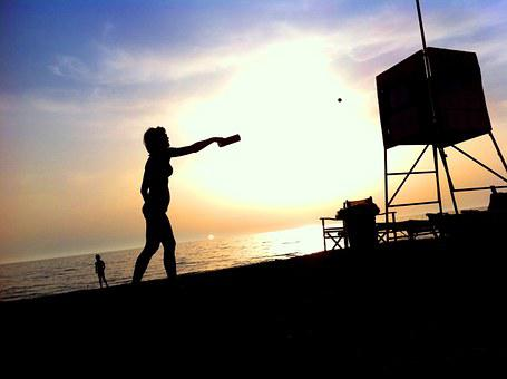 Woman, Beach, Back Light, Silhouette, Sport, Ball, Bat