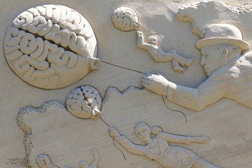 Brain, Balloon, Man, Hat, Child, Woman, Sand Sculpture