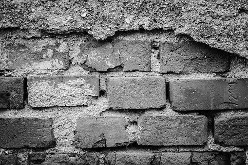Wall, Bricks, Worn By, Old, Texture, Black And White