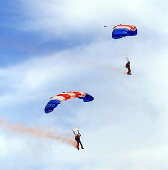 Airplane, Aviation, Blue, Celebration, Chute, Cloud