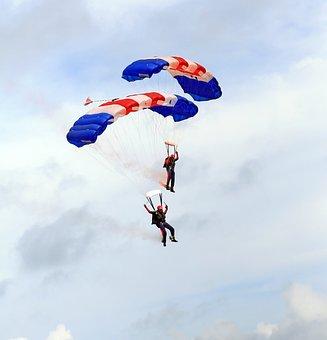 Skydiving, Parachutes, Airplane, Aviation, Blue