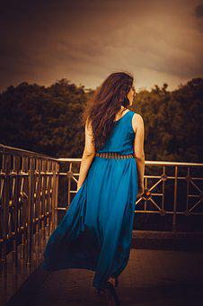 Girl In A Long Dress From The Back, Blue, Hands, Beauty