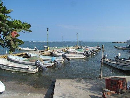 Boat, Beach, Sea, Waves, Sunset, Surf, Palm Tree, Ball