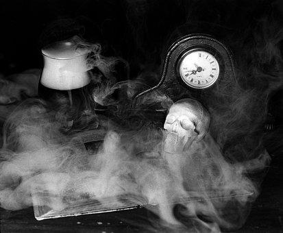 Skulls, Book, Clock, Knowledge, Drink, Blood, Halloween