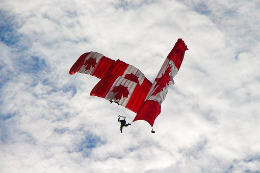 Skydivers, Canadian, Team, Flag, Trio, Stacked, Three
