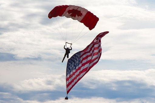 Skydiver, Usa Flag, Canadian, Airshow, Wetaskiwin