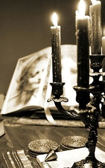 Candles, Candlestick, Book, Environment, Dining Room