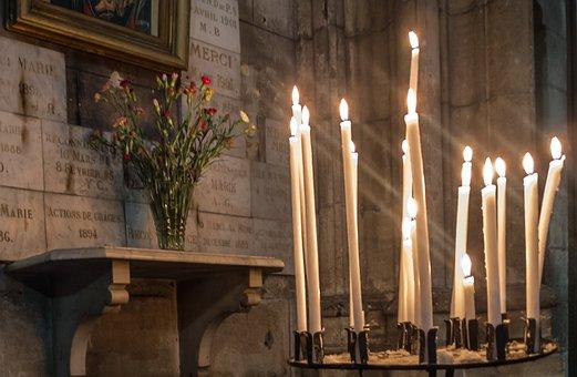 Candles, Church, Cathedral, B N, Palencia, Light
