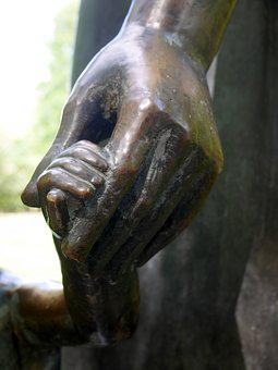 Sculpture, Hand In Hand, Child's Hand, Mother And Child