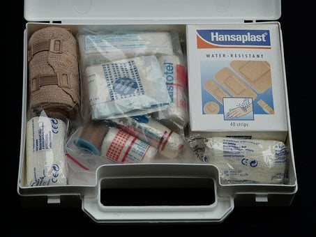 First Aid Kit, Help, Association Case, Luggage, White