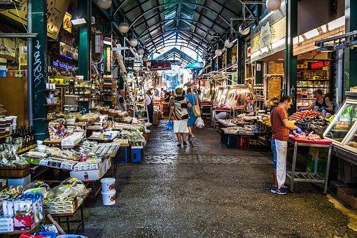Market, Vegetables, Fruit, Meat, Fish, Spices, Colorful