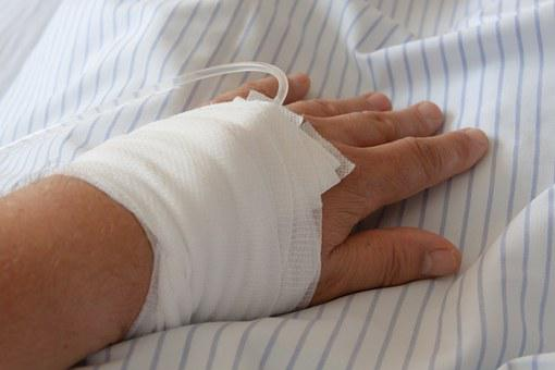 Hospital, Infusion, Hand, Association, Gauze Bandage