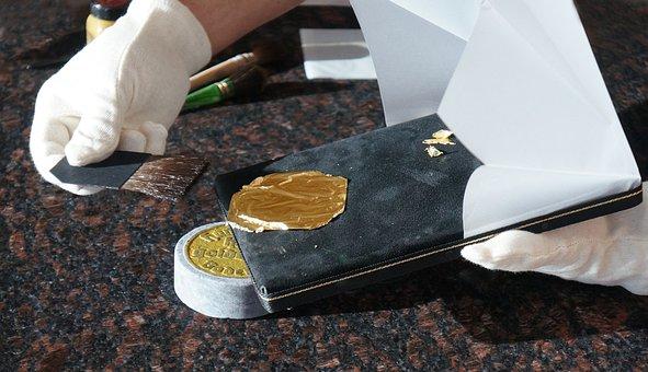 Gold, Gold Leaf, Gilding, Craft, Metal, Brush, Issue
