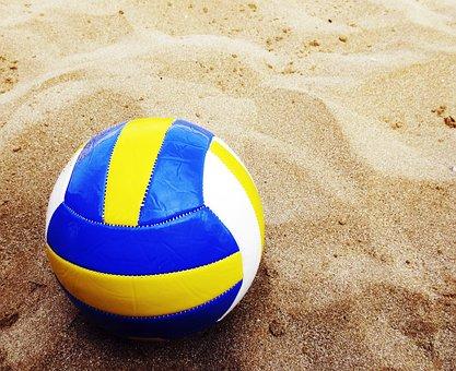 Beach Volleyball, Ball, Sand, Beach, Holiday, Holidays