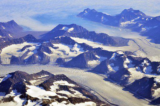 Greenland, Aerial, Snow, Mountains, Ice, Icy, Ocean