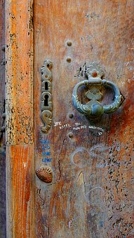 Knocker, Door, Lock, Brass, Uzes, France, Old, Metal