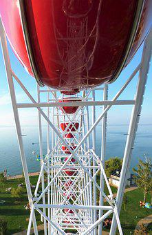 Giant Ferris Wheel, Lake Balaton, Siófok, Metal, Sky