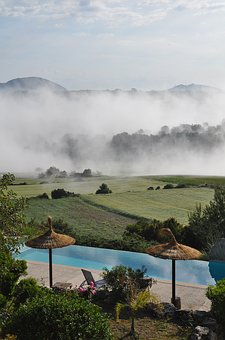 Clouds, Mountains, Nature, Pool, Landscape, Fog, Sky