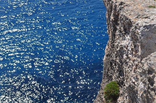 Sea, Rock Wall, Rock, Water, Blue, Nature, Landscape