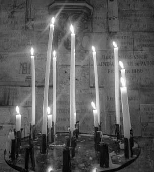 Candles, Church, Cathedral, B N, Palencia, Light
