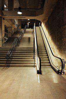 Metro, Ladder, Wall, Stone, Escalator, Design