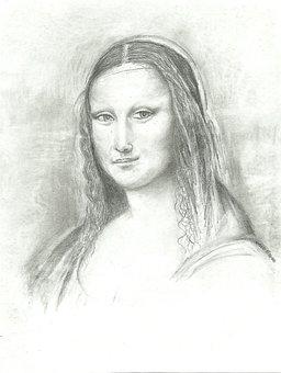 Mona, Lisa, Drawing, Leonardo, Smile, Vinci, Lady
