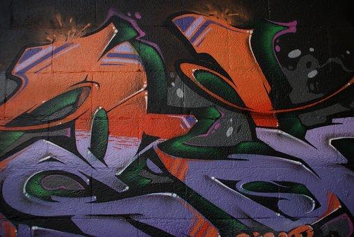 Graffiti, Wall, Art, Street, Orange, Purple, Color