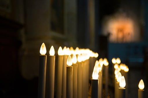 Candles, Church, Religion, Religious, Flame, Pray