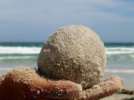 Ball, Sand, Hand, Child, Keep, Balance, Rest, Play