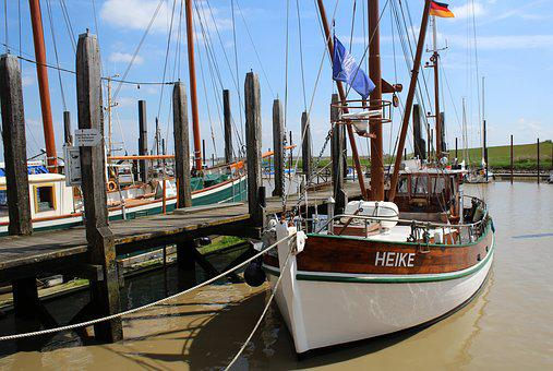 Harbour, Cutter, Ship, Germany, River, Boat, Water, Sea